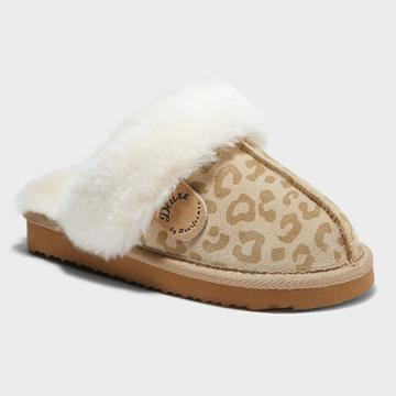 Kids' Dluxe By Dearfoams Whistler Leopard Genuine Shearling Scuff Slippers - Brown