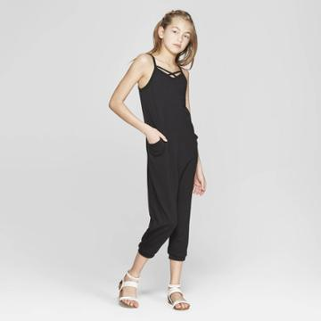 Girls' Jumpsuit With Side Pockets - Art Class Black