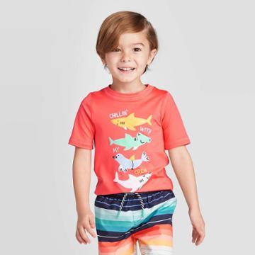 Toddler Boys' Alligator Long Sleeve Rash Guard - Cat & Jack Coral 12m, Toddler Boy's, Orange