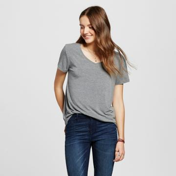 Mossimo Supply Co. Women's Short Sleeve Softest V-neck Tee Gray M - Mossimo