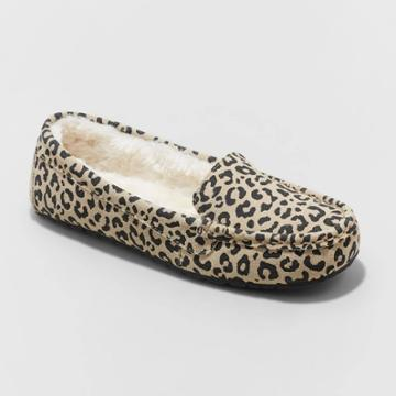 Women's Gemma Leopard Genuine Suede Moccasin Slippers - Stars Above Brown
