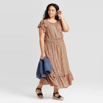 Women's Plus Size Floral Print Short Sleeve Ruffle Dress - Universal Thread Rust 1x, Women's, Size: