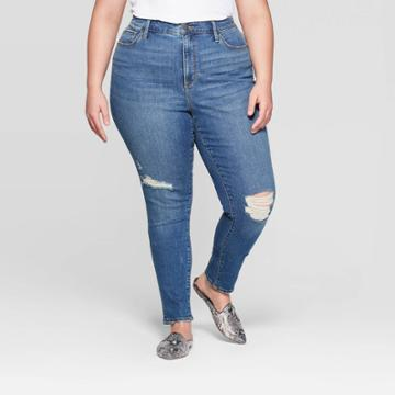 Women's Plus Size High-rise Distressed Cuffed Skinny Jeans - Universal Thread Medium Wash