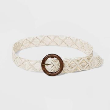 Women's Macrama Wood O Ring Belt - Universal Thread Cream Xs, Women's, Beige
