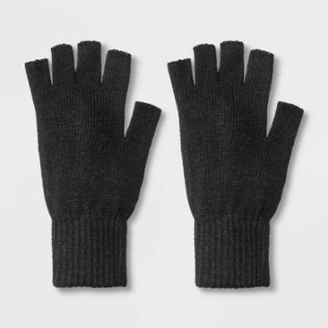 Men's Solid Knit Fingerless Gloves - Goodfellow & Co Black,
