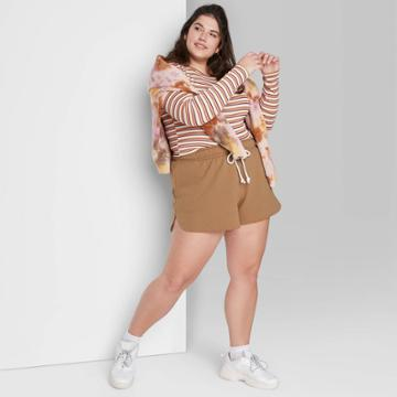Women's Plus Size Super-high Rise Dolphin Shorts - Wild Fable Tan