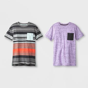Petiteboys' 2pk Short Sleeve Stripe T-shirt - Cat & Jack Purple/aqua M, Boy's, Size: Medium, Purple Blue