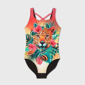 Girls' Leopard One Piece Swimsuit - Art Class Xs, Green/orange/pink
