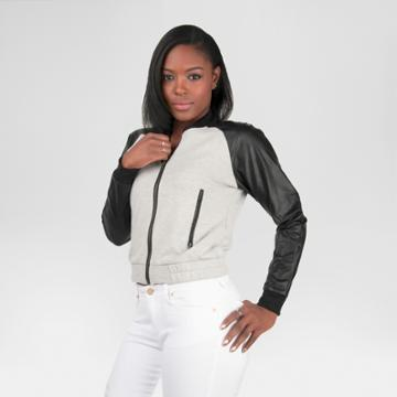 Women's Vegan Leather French Terry Jacket Heather Gray Xl - Poetic Justice,