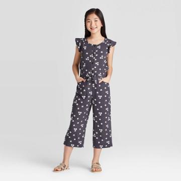 Girls' Floral Jumpsuit - Cat & Jack Charcoal L, Girl's, Size: