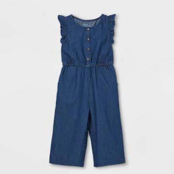 Toddler Girls' Adaptive Abdominal Access Chambray Jumpsuit - Cat & Jack Blue