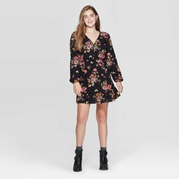 Women's Floral Print Long Sleeve V-neck Button Front Mini Dress - Xhilaration Black