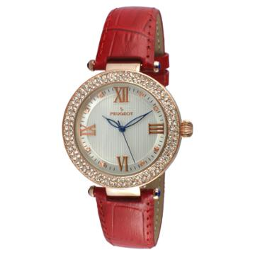 Peugeot Watches Women's Peugeot Crystal Accented T-bar Leather Strap Watch - Rose/red