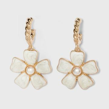 Sugarfix By Baublebar Flower Drop Earrings - Pearl, White
