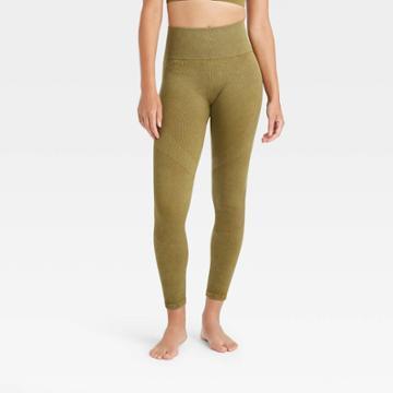 Women's High-rise Ribbed Seamless 7/8 Leggings - Joylab Olive