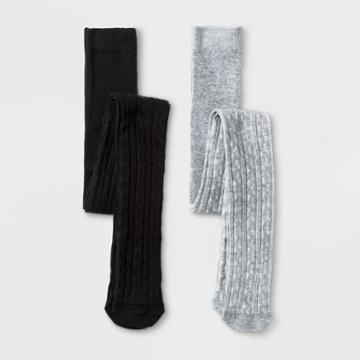 Girls' 2pk Cable Knit Cotton Tights - Cat & Jack Gray/black