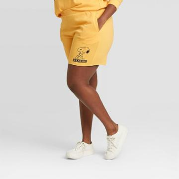Women's Peanuts Graphic Jogger Shorts - Yellow