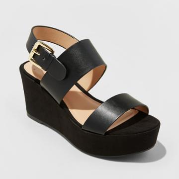 Women's Zenia Two Piece Flatform Slide Sandals - A New Day Black 8.5,