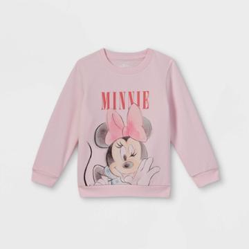 Toddler Girls' Disney Minnie Mouse Fleece Crew Neck Pullover - Pink