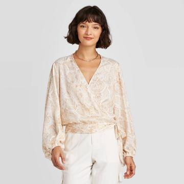 Women's Snake Print Balloon Long Sleeve Wrap Top - A New Day Cream L, Women's, Size: