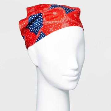 No Brand Star And Bandana Printed Fabric With Elastic Back Headscarf