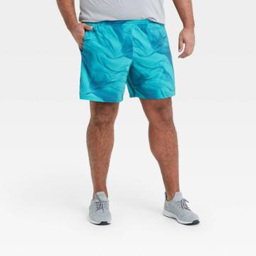 Men's 7 Printed Lined Run Shorts - All In Motion Teal
