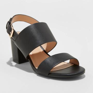 Women's Haley Faux Leather Two Strap City Sandal Pumps - A New Day Black