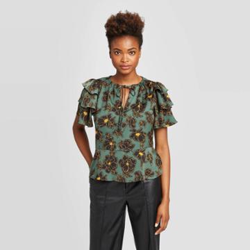 Women's Floral Print Flounce Short Sleeve Split Neck Peplum Ruffle Blouse - Who What Wear Green M, Women's,