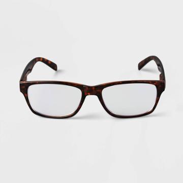 Men's Tortoise Print Rectangle Blue Light Filtering Glasses - Goodfellow & Co Brown