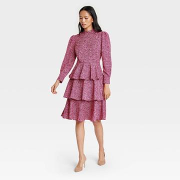 Women's Leopard Print Puff Long Sleeve A-line Dress - Who What Wear Pink