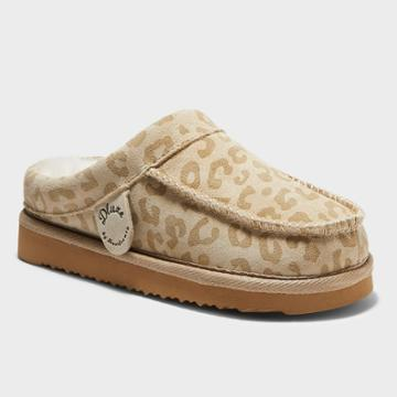 Kids' Dluxe By Dearfoams Vancouver Leopard Genuine Shearling Clog Slippers - Brown