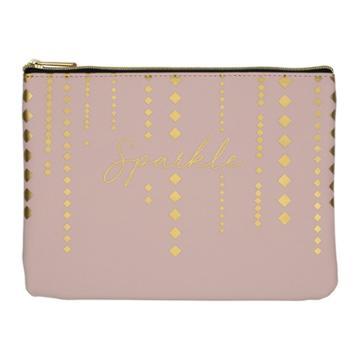 Ruby+cash Faux Leather Makeup Bag & Organizer - Sparkle Cascading Diamonds