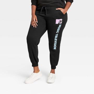 Women's Mtv Plus Size Pink Logo Graphic Jogger Pants - Black