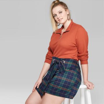 Women's Plus Size Plaid Skirt - Wild Fable Navy