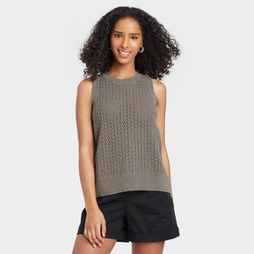 Women's Crewneck Sleeveless Tank Pullover Sweater - A New Day Charcoal Gray