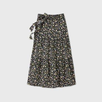 Women's Floral Print Tiered A-line Maxi Skirt - Who What Wear Black