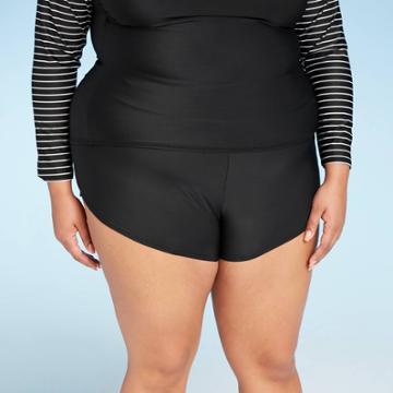 Women's Plus Size Paddle Board Swim Shorts - All In Motion Black