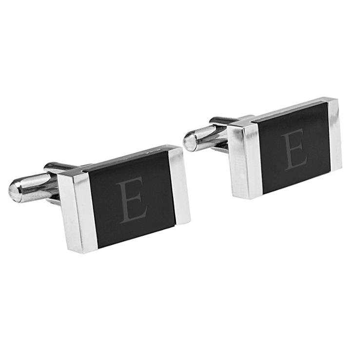 Cathy's Concepts Monogram Groomsmen Gift Faux Onyx Stainless Steel Cufflink - E,