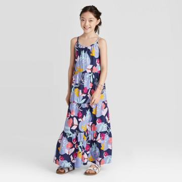 Girls' Floral Maxi Dress - Cat & Jack Navy M Plus, Girl's, Size: Medium