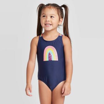 Toddler Girls' Rainbow Elastic Strap One Piece Swimsuit Set - Cat & Jack Navy 12m, Toddler Girl's, Blue