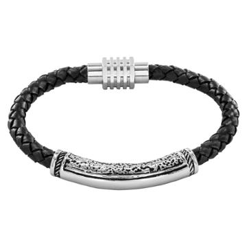 Crucible Men's Braided Leather And Stainless Steel Bracelet - Black