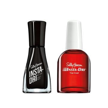 Sally Hansen Insta-dri Nail Color - Anti-chip Top Coat & Black To Black - 2pc/0.76 Fl Oz