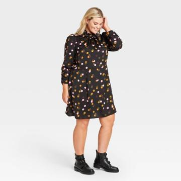 Women's Plus Size Polka Dot Puff Long Sleeve A-line Dress - Who What Wear Black
