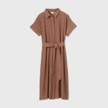 Women's Short Sleeve Front Button-down Dress - Prologue Brown