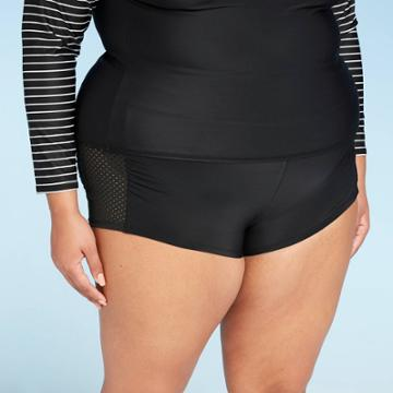 Women's Plus Size Perforated Side Swim Shorts - All In Motion Black