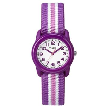 Kid's Timex Watch With Striped Strap - Purple Tw7c061009j, Girl's, White Purple