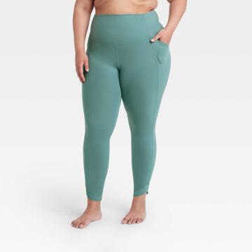 Women's Plus Size Contour Power Waist High-rise 7/8 Leggings 26 - All In Motion Jade