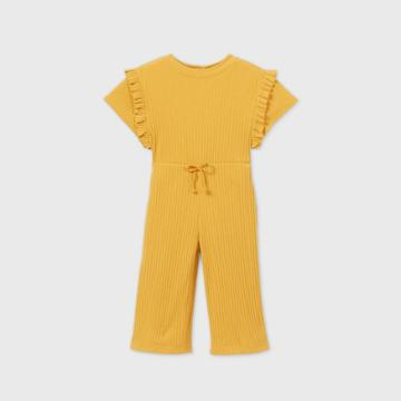 Toddler Girls' Ribbed Short Sleeve Jumpsuit - Art Class Gold