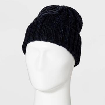 Men's Cable Nep Beanie - Goodfellow & Co Navy One Size,