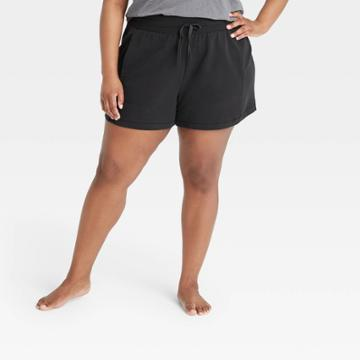 Women's Plus Size Mid-rise French Terry Shorts - All In Motion Black